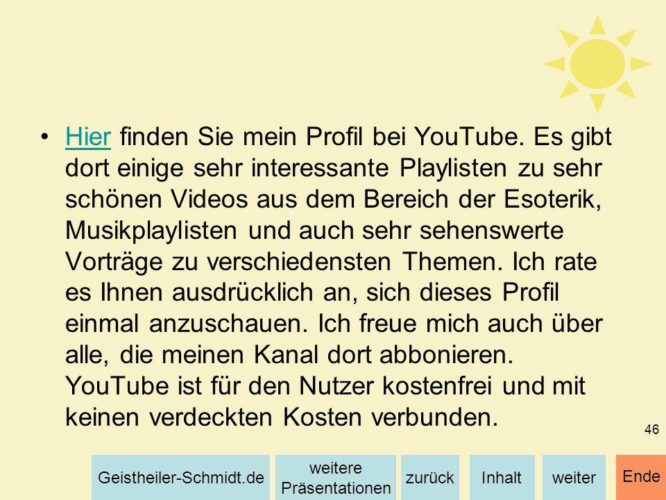 Hier finden Sie mein Profil bei YouTube