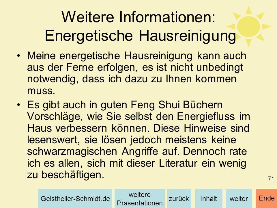 Weitere Informationen: Energetische Hausreinigung