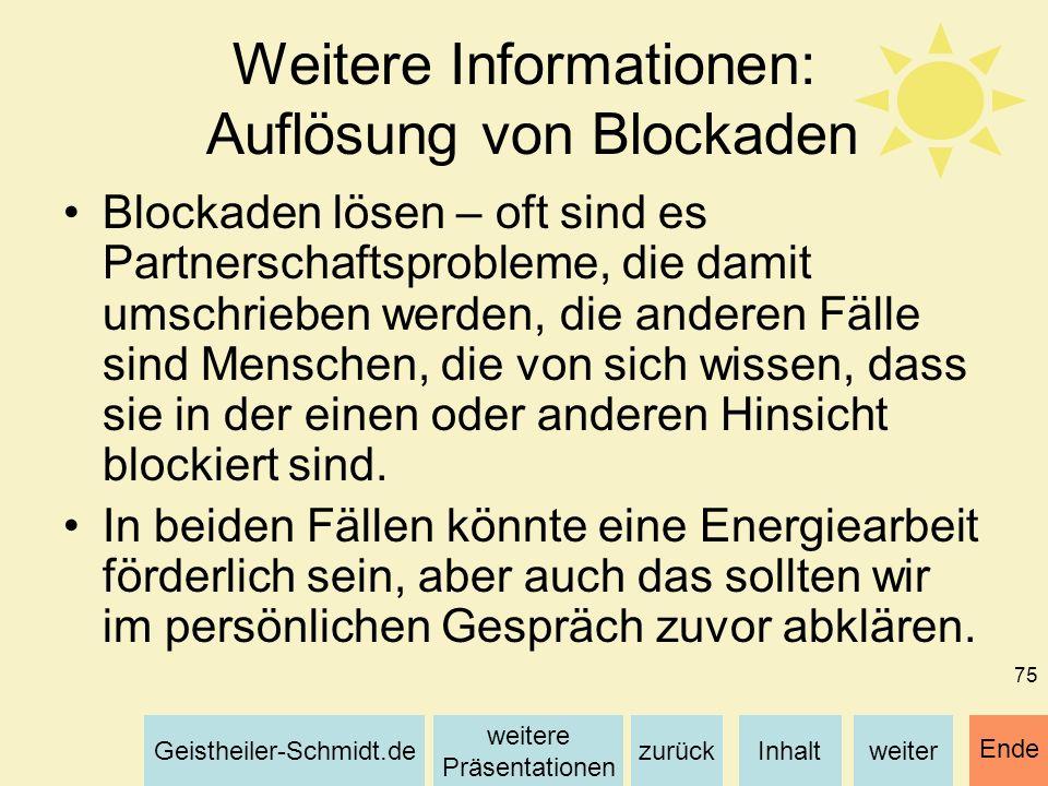 Weitere Informationen: Auflösung von Blockaden