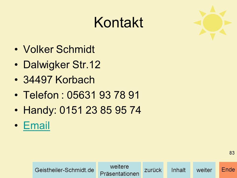 Kontakt Volker Schmidt Dalwigker Str.12 34497 Korbach