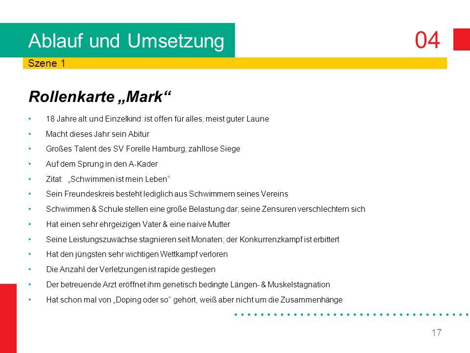 """Ablauf und Umsetzung Rollenkarte """"Mark Szene 1"""