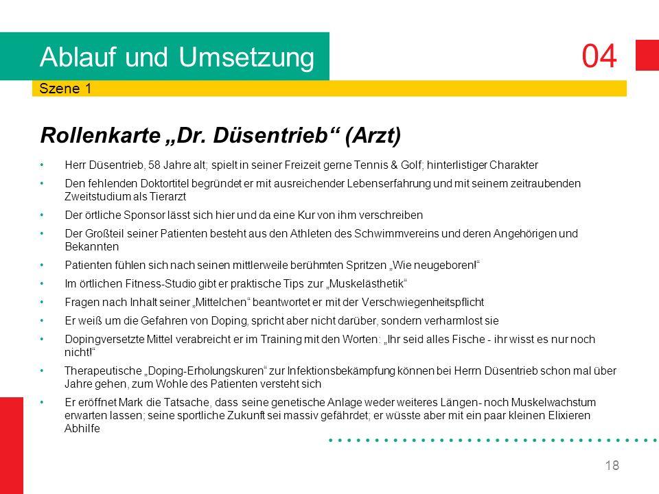 """Ablauf und Umsetzung Rollenkarte """"Dr. Düsentrieb (Arzt) Szene 1"""