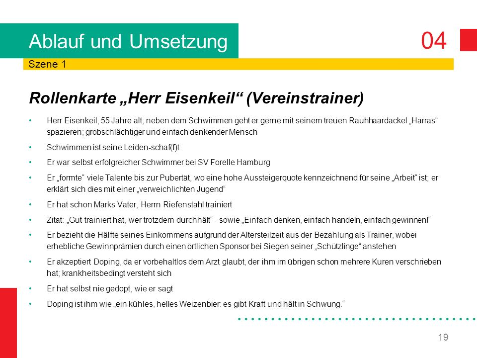 """Ablauf und Umsetzung Rollenkarte """"Herr Eisenkeil (Vereinstrainer)"""