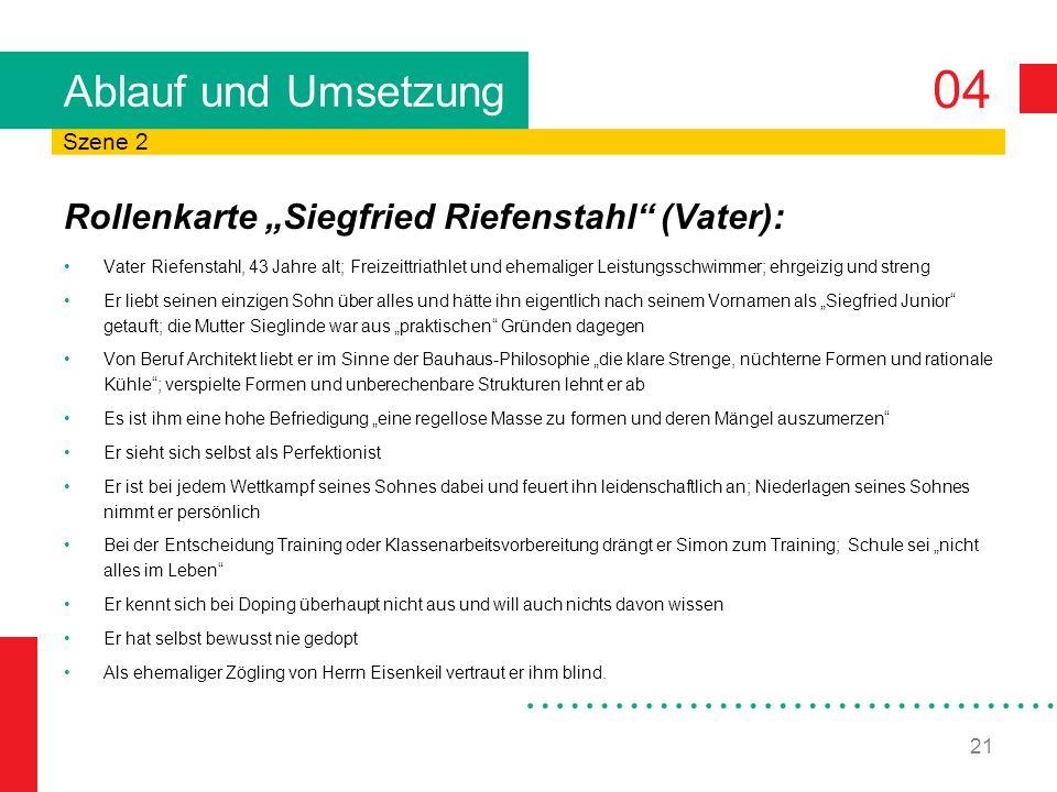 """Ablauf und Umsetzung Rollenkarte """"Siegfried Riefenstahl (Vater):"""
