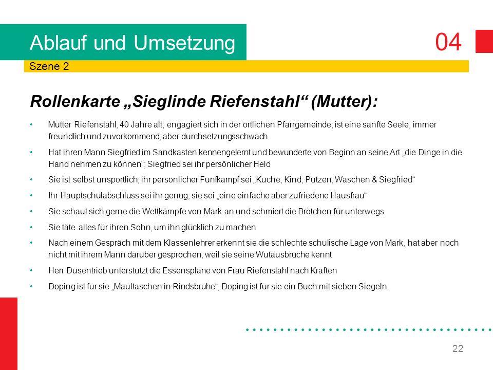 """Ablauf und Umsetzung Rollenkarte """"Sieglinde Riefenstahl (Mutter):"""