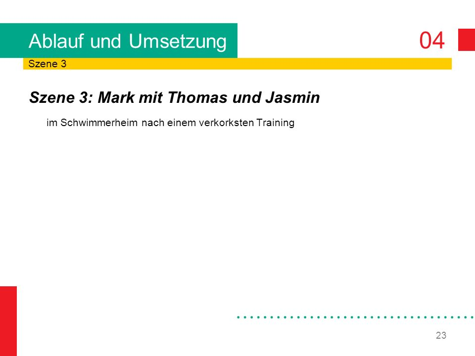 Ablauf und Umsetzung Szene 3: Mark mit Thomas und Jasmin Szene 3