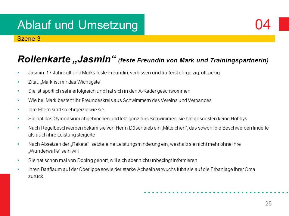 """Ablauf und Umsetzung Szene 3. Rollenkarte """"Jasmin (feste Freundin von Mark und Trainingspartnerin)"""