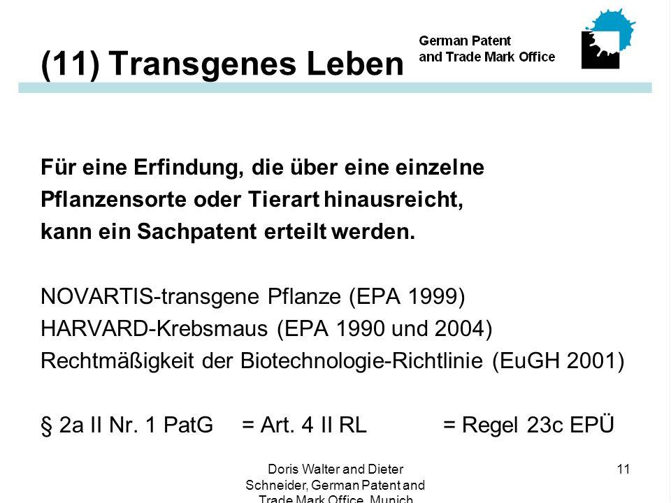 (11) Transgenes Leben Für eine Erfindung, die über eine einzelne
