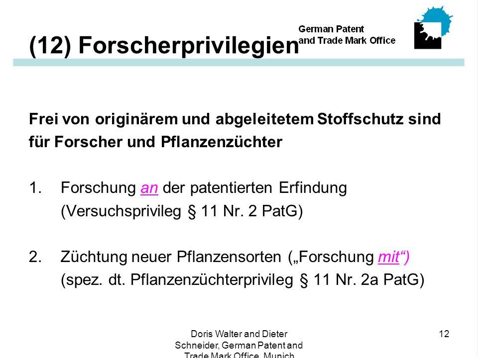 (12) Forscherprivilegien