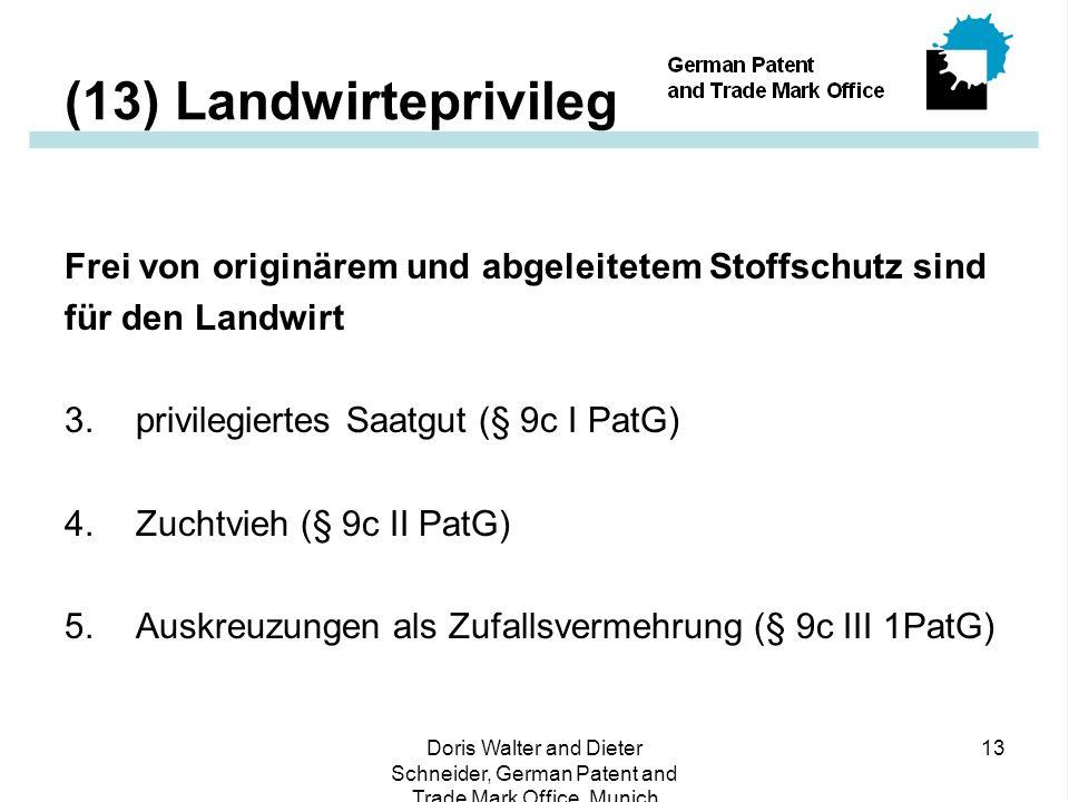 (13) Landwirteprivileg Frei von originärem und abgeleitetem Stoffschutz sind. für den Landwirt. 3. privilegiertes Saatgut (§ 9c I PatG)