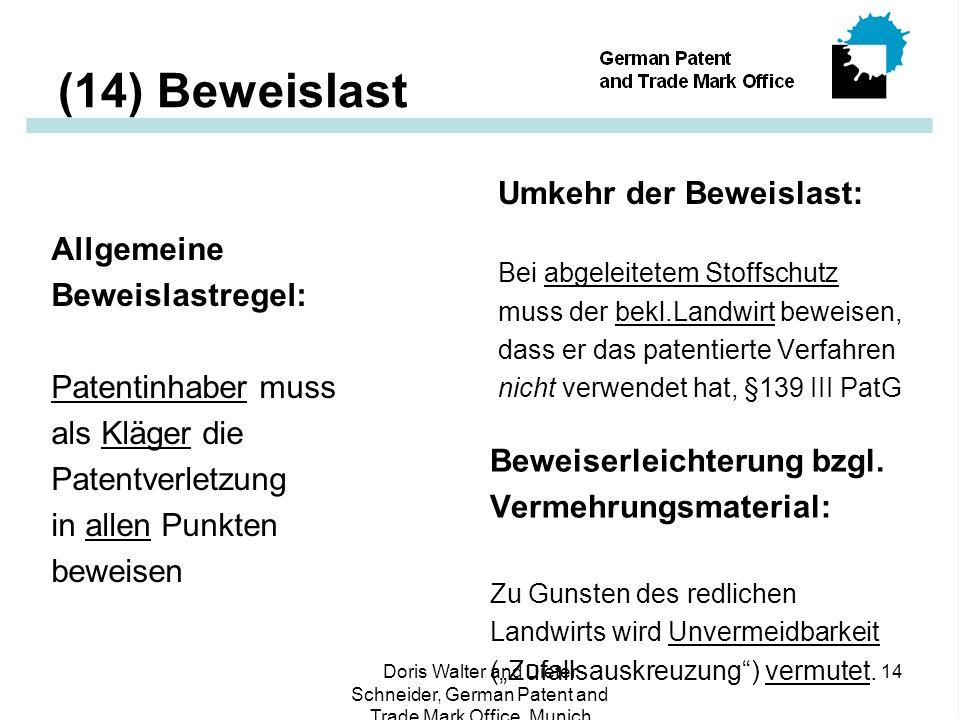 (14) Beweislast Umkehr der Beweislast: Allgemeine Beweislastregel: