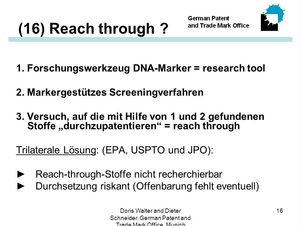 (16) Reach through 1. Forschungswerkzeug DNA-Marker = research tool