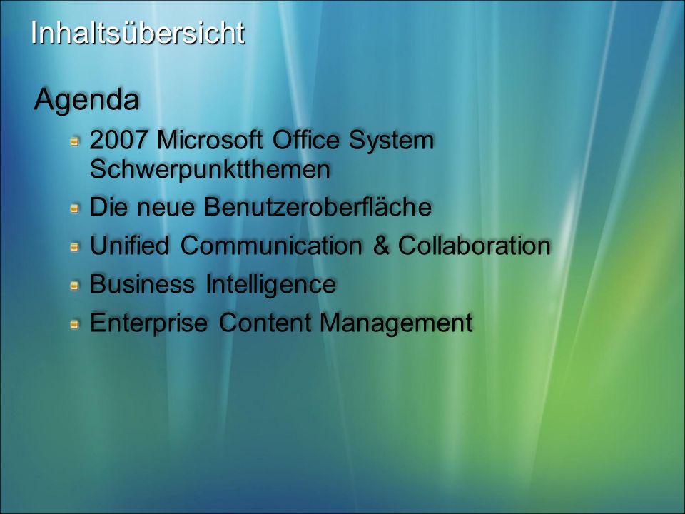 Inhaltsübersicht Agenda 2007 Microsoft Office System Schwerpunktthemen
