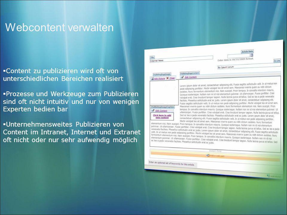 Webcontent verwalten Content zu publizieren wird oft von unterschiedlichen Bereichen realisiert.