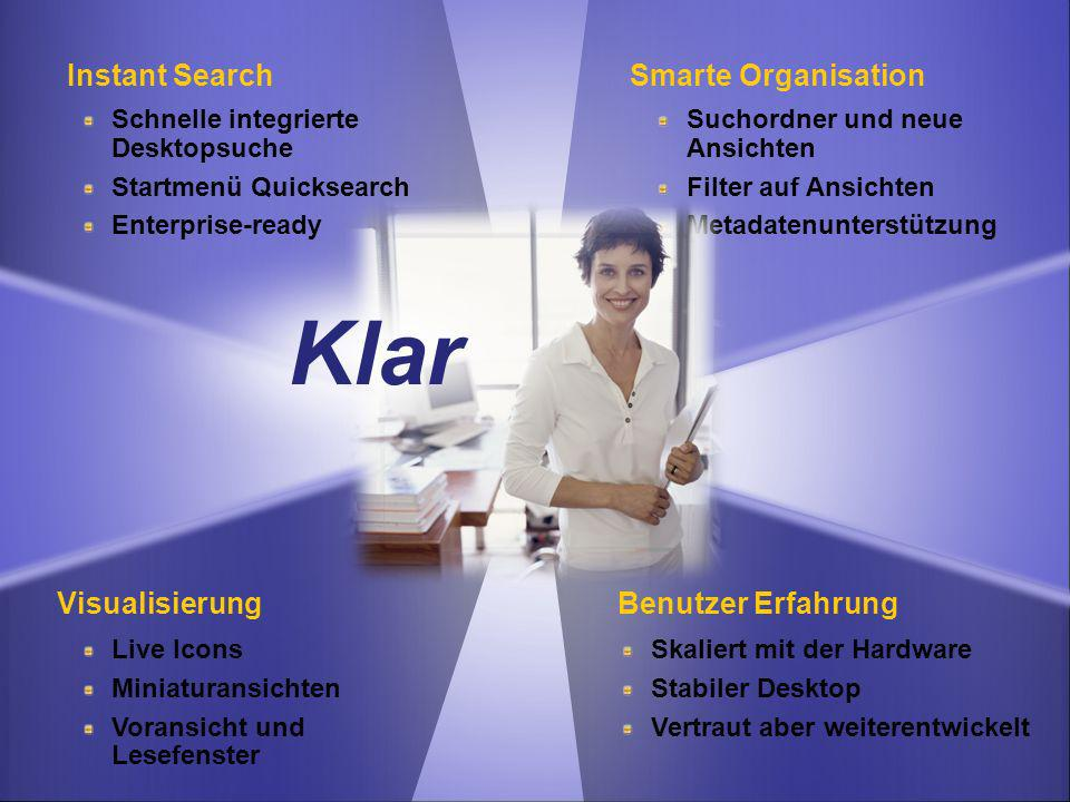 Klar Instant Search Smarte Organisation Visualisierung