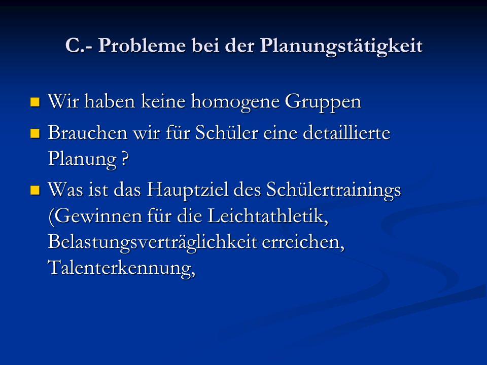 C.- Probleme bei der Planungstätigkeit