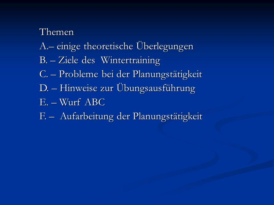 Themen A.– einige theoretische Überlegungen. B. – Ziele des Wintertraining. C. – Probleme bei der Planungstätigkeit.