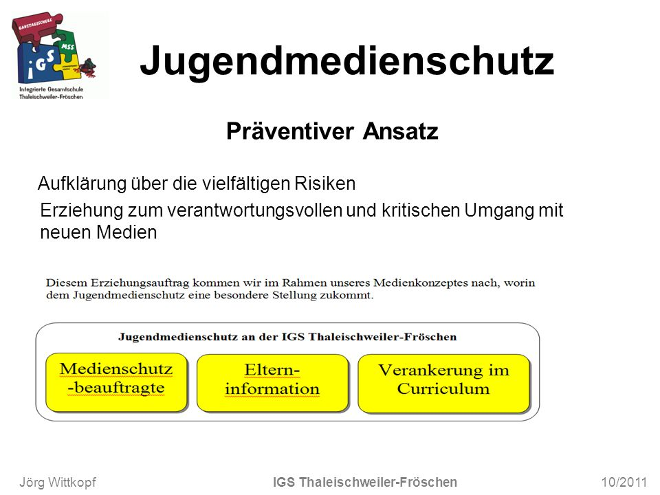 Jugendmedienschutz Präventiver Ansatz