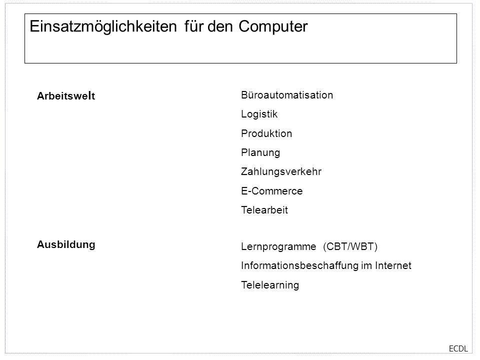 Einsatzmöglichkeiten für den Computer