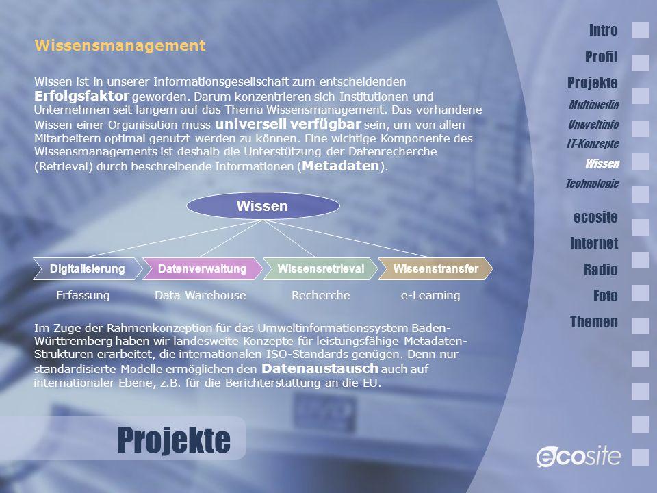 Projekte Intro Profil Wissensmanagement Projekte ecosite Internet