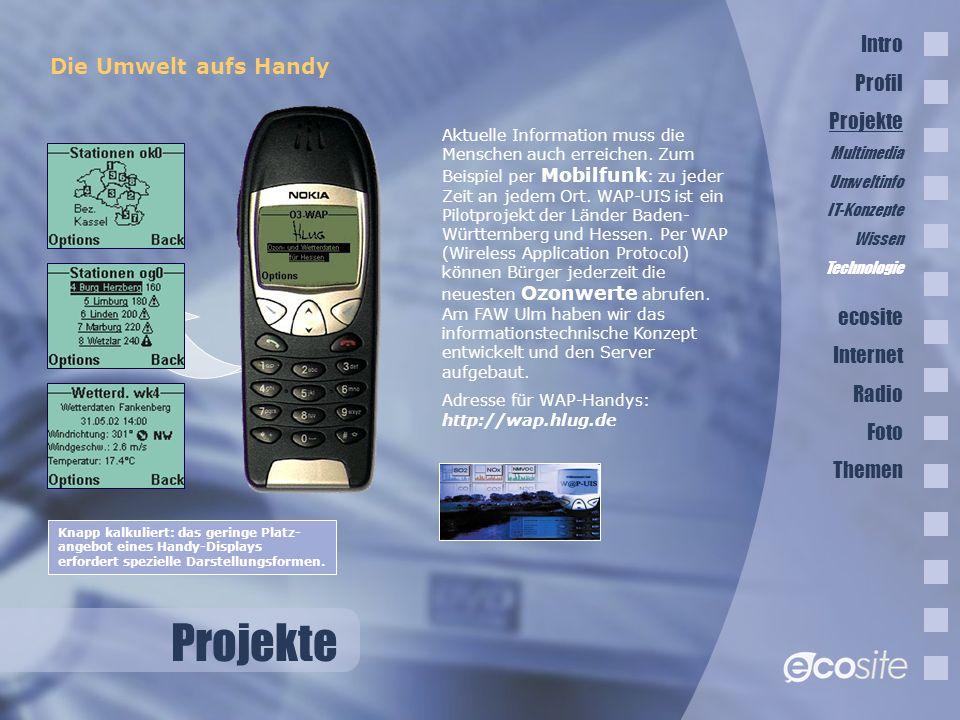 Projekte Intro Profil Die Umwelt aufs Handy Projekte ecosite Internet