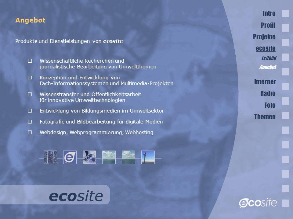 ecosite Intro Profil Angebot Projekte ecosite Internet Radio Foto