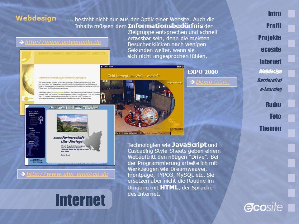 Internet Intro Webdesign Profil Projekte ecosite Internet Radio Foto