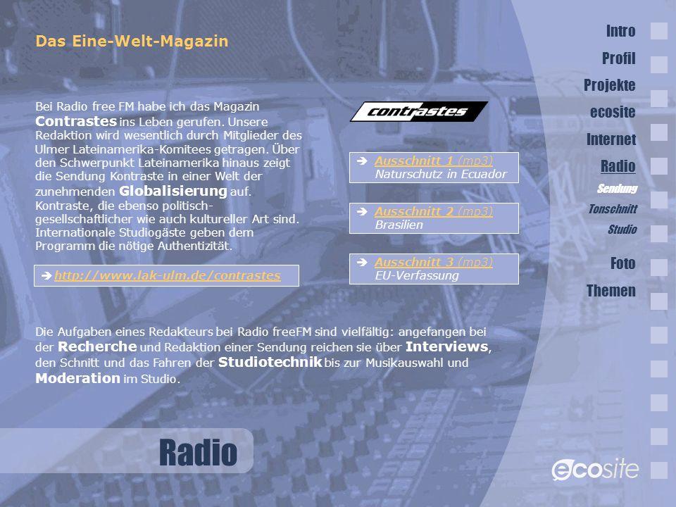 Radio Intro Das Eine-Welt-Magazin Profil Projekte ecosite Internet