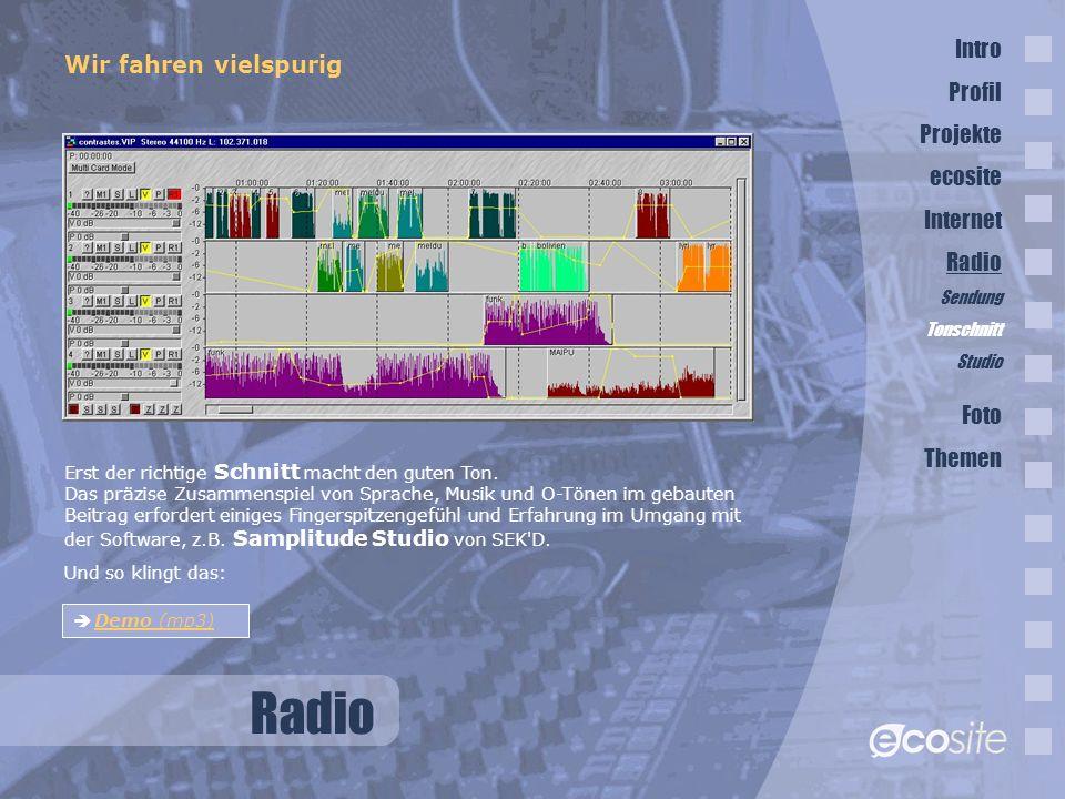 Radio Intro Wir fahren vielspurig Profil Projekte ecosite Internet