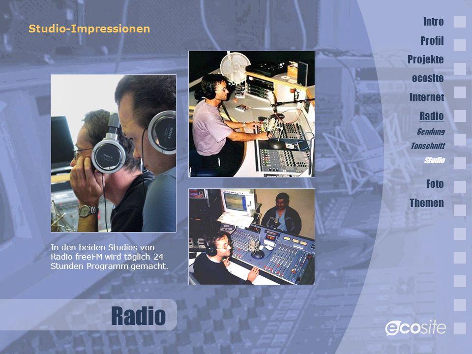 Radio Intro Studio-Impressionen Profil Projekte ecosite Internet Radio