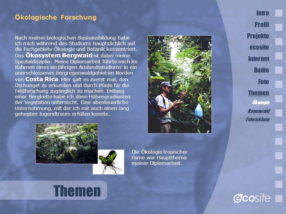 Themen Intro Ökologische Forschung Profil Projekte ecosite Internet