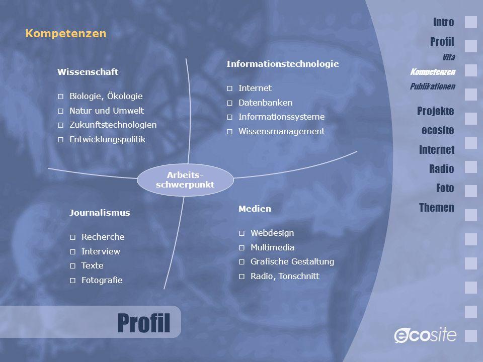 Profil Intro Profil Kompetenzen Projekte ecosite Internet Radio Foto