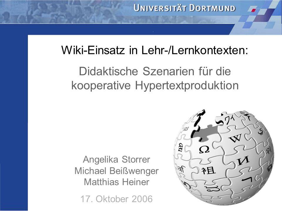 Wiki-Einsatz in Lehr-/Lernkontexten: