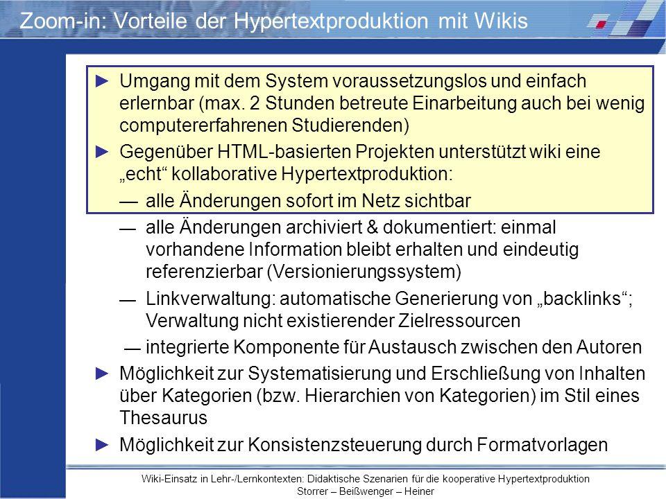 Zoom-in: Vorteile der Hypertextproduktion mit Wikis