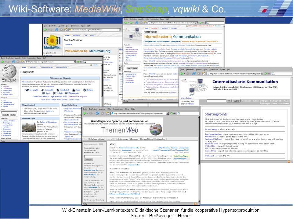Wiki-Software: MediaWiki, SnipSnap, vqwiki & Co.