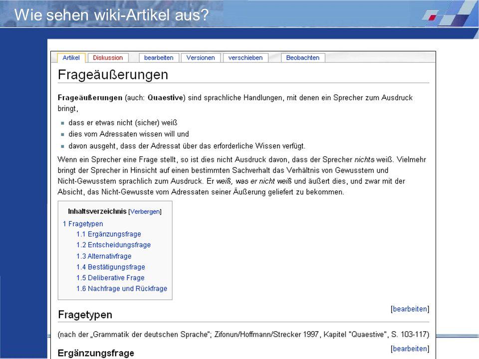 Wie sehen wiki-Artikel aus