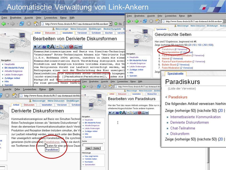 Automatische Verwaltung von Link-Ankern