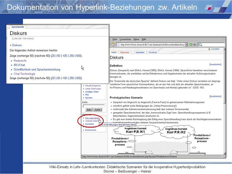 Dokumentation von Hyperlink-Beziehungen zw. Artikeln
