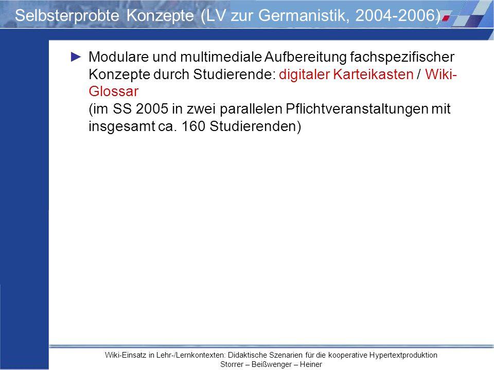Selbsterprobte Konzepte (LV zur Germanistik, 2004-2006)