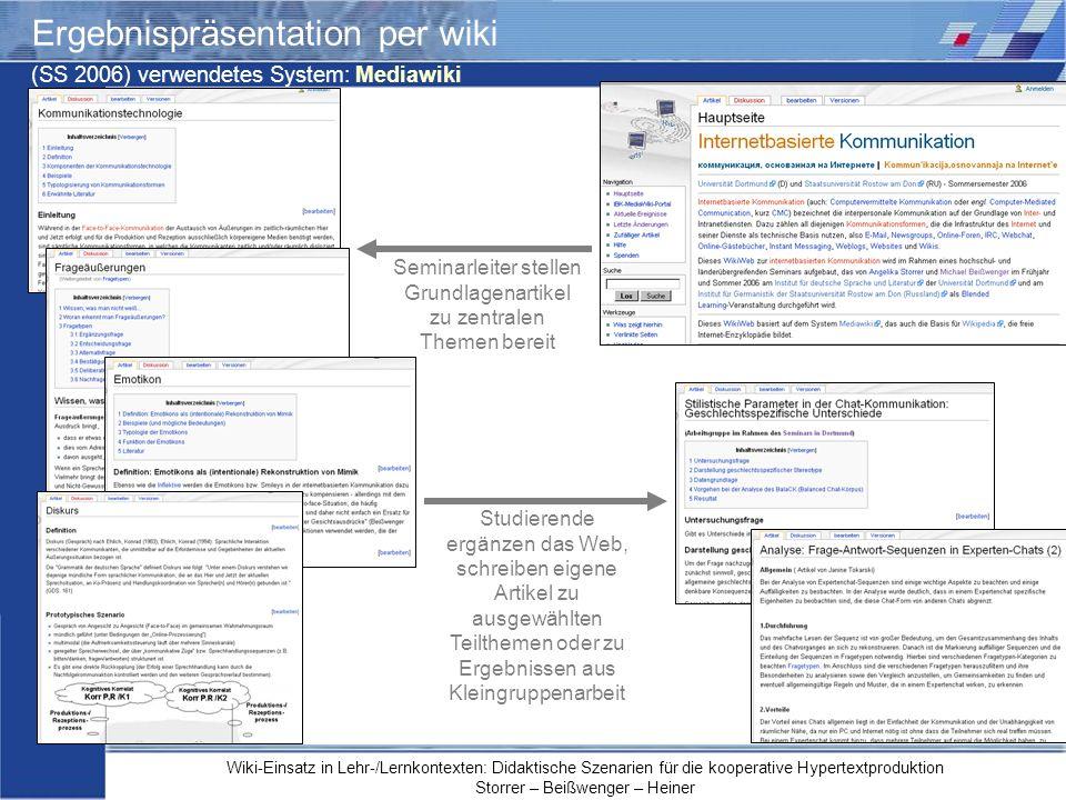 Ergebnispräsentation per wiki