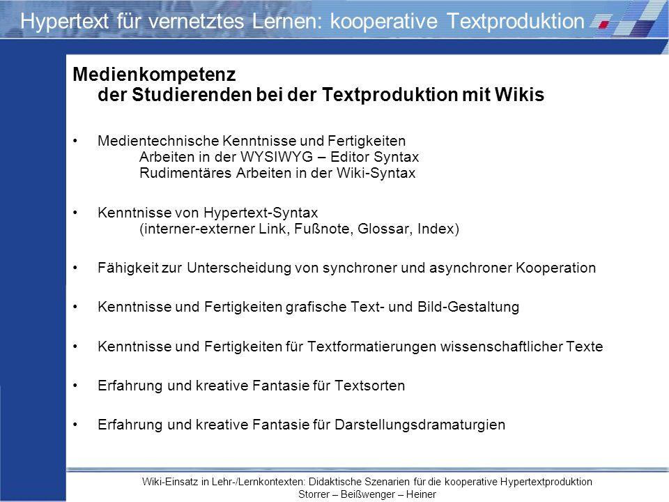 Hypertext für vernetztes Lernen: kooperative Textproduktion