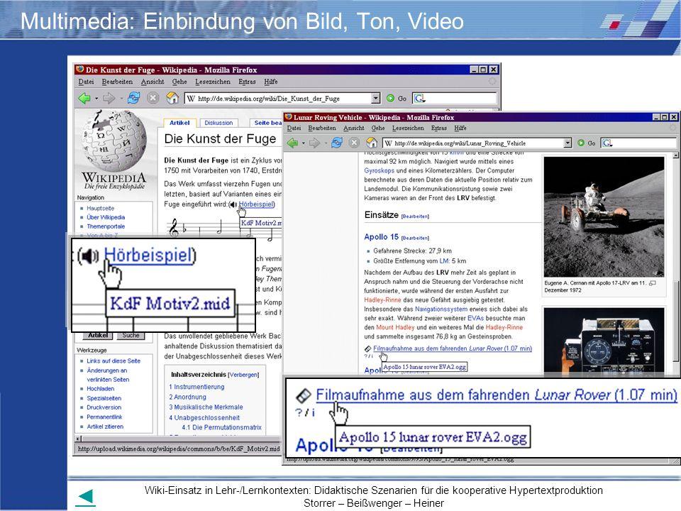 Multimedia: Einbindung von Bild, Ton, Video