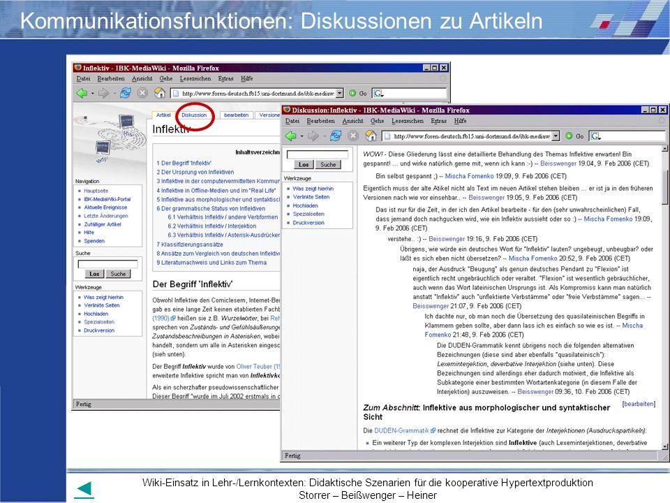 Kommunikationsfunktionen: Diskussionen zu Artikeln