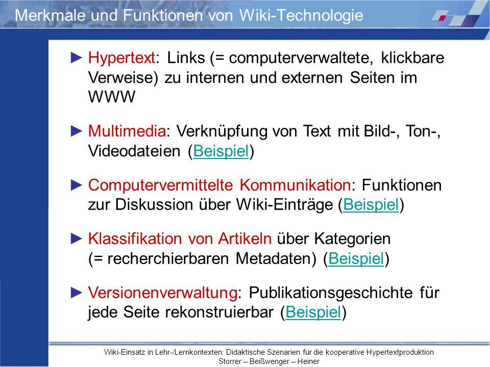 Merkmale und Funktionen von Wiki-Technologie