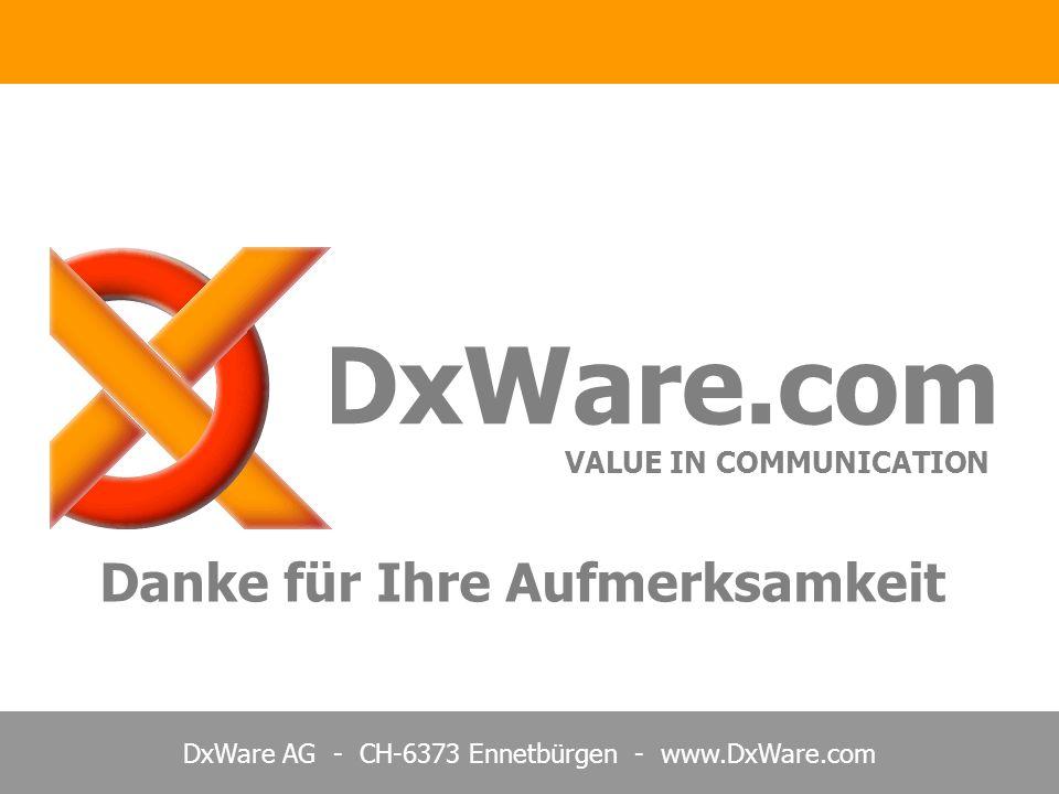 DxWare.com VALUE IN COMMUNICATION Danke für Ihre Aufmerksamkeit