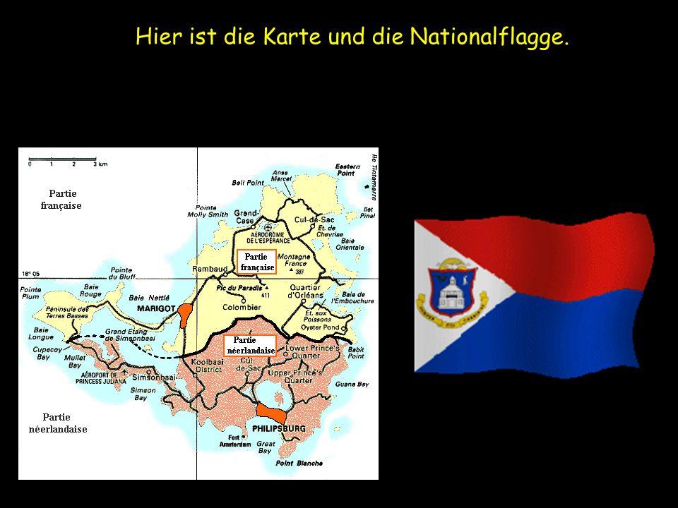 Hier ist die Karte und die Nationalflagge.