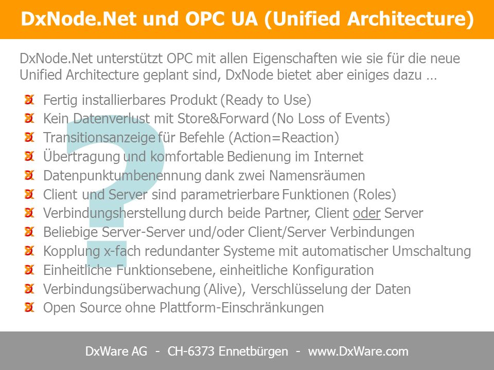 DxNode.Net und OPC UA (Unified Architecture)
