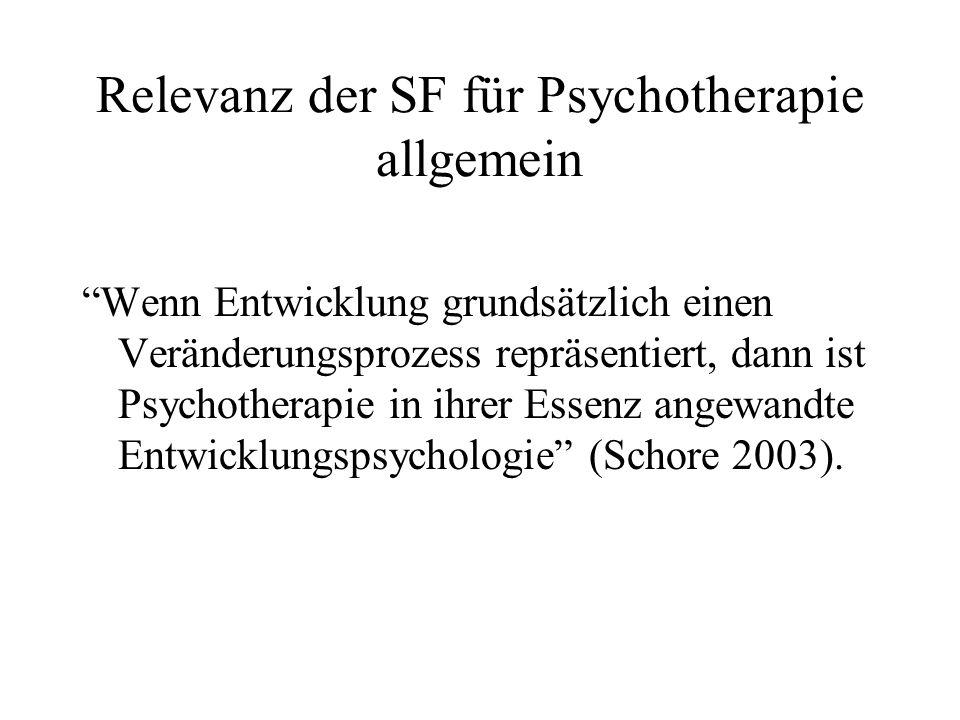 Relevanz der SF für Psychotherapie allgemein