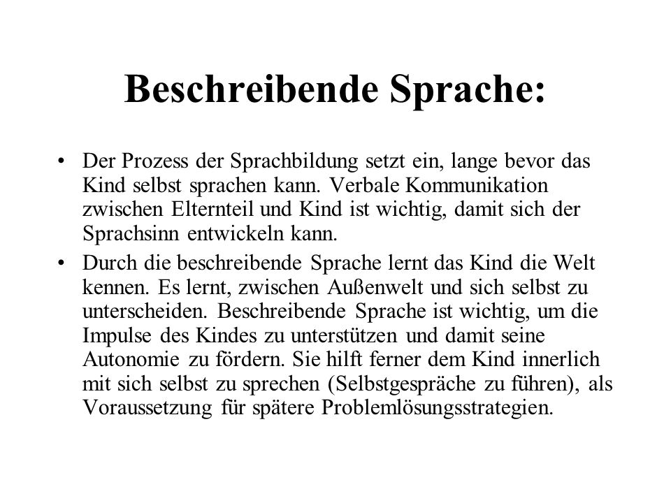 Beschreibende Sprache: