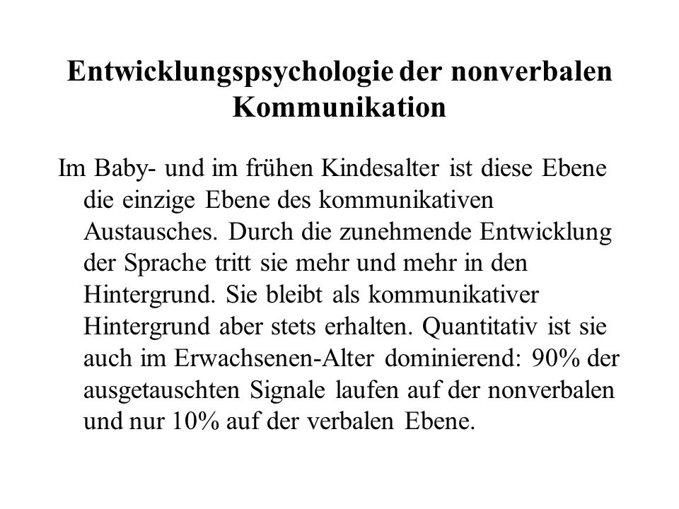Entwicklungspsychologie der nonverbalen Kommunikation